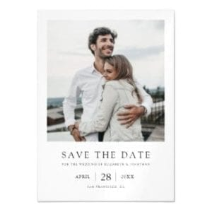 simple minimalist modern photo wedding save the date magnet with borders