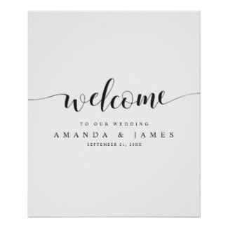 simple modern flowing script black and white wedding welcome sign