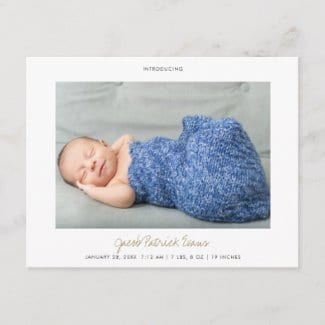 simple modern horizontal photo birth announcement postcard with white borders and gold script for boy or girl
