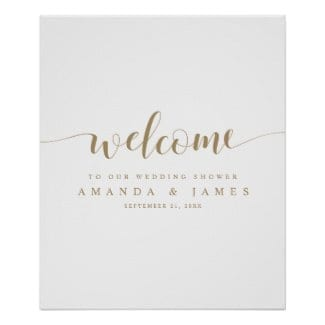simple modern minimalist gold and white couples shower welcome sign with whimsical script