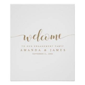 simple modern gold and white wedding engagement party welcome sign with whimsical script