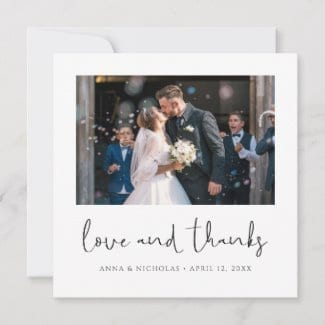 square love and thanks photo wedding thank you card