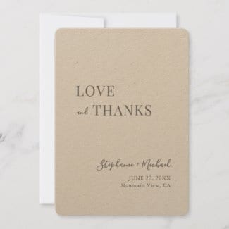 simple rustic love and thanks script wedding thank you card on brown kraft paper
