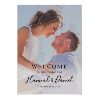 simple modern full photo wedding welcome sign with a whimsical black script