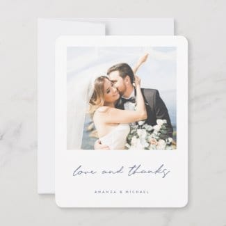 simple modern photo weddng thank you card with 'love and thanks' in blue with white borders