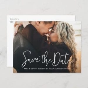 custom save the date postcard with horizontal format, full photo and modern white script