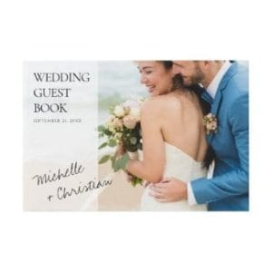 unique wedding guest book with photo and overlay