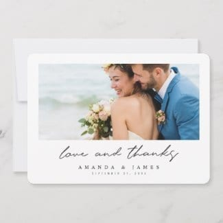simple modern horizontal photo love and thanks wedding thank you card with black text and white borders