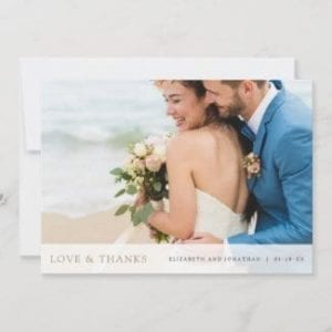 horizontal photo wedding thank you card with love and thanks in gold and pre printed message on back