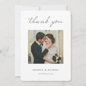 modern minimalist wedding thank you card with photo, white borders and black script