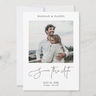 simple modern wedding invitation save the date flat card with photo, borders and casual black script