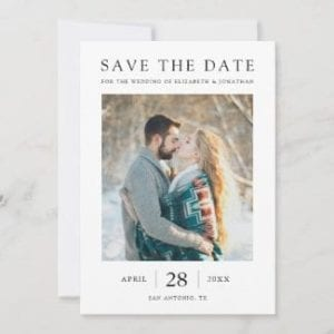 simple elegant wedding save the date invite with photo, white borders and black text