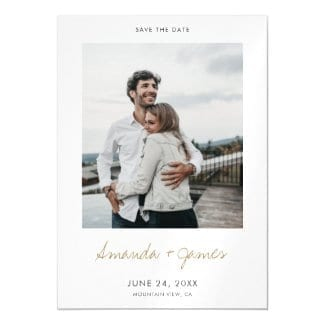 simple modern wedding save the date magnet with photo, names in gold and white borders