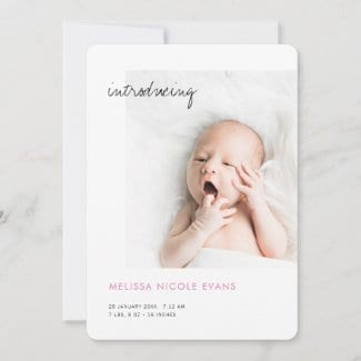 simple modern custom baby girl birth annoucement with pink and photo