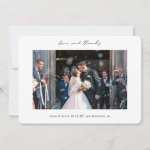 "simple modern horizontal 5"" x 7"" photo wedding love and thanks thank you card with borders and black script"