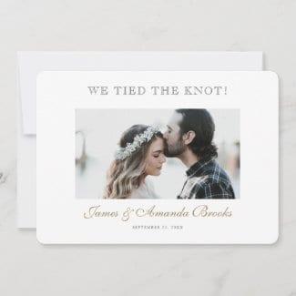 simple modern horizontal photo wedding elopement announcement flat card with gold script