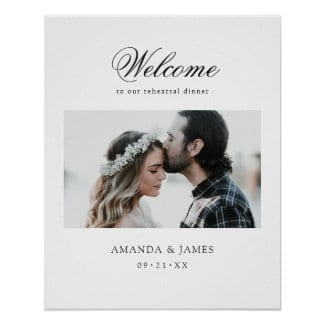 simple modern wedding rehearsal dinner sign with photo and elegant black script