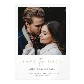 simple modern wedding save the date magnet invitation with photo and gold text