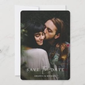 custom wedding save the date template with photo and white text