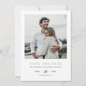 simple modern save the date wedding invite template flat card with gold text and photo