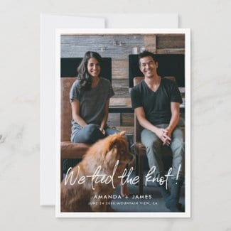 modern photo wedding elopement card template with border and we tied the knot script