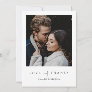 simple modern wedding thank you flat card with love and thanks and photo with borders