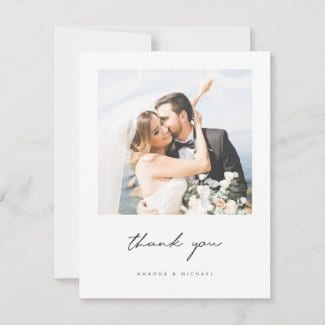 modern minimalist wedding thank you card with black script and photo