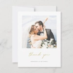 custom wedding thank you flat card with modern gold script and photo
