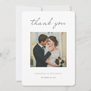 minimalist modern wedding thank you card template with photo and gold text