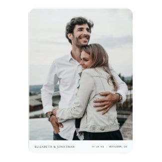 custom save the date template flat card with photo and rounded corners.