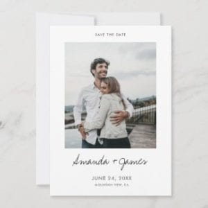 simple modern wedding save the date flat card with photo, black script and borders