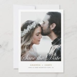 simple modern wedding save the date invite template with photo