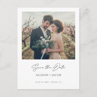 custom photo save the date invitation postcard with modern black calligraphy script