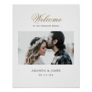 simple modern wedding rehearsal dinner welcome poster with photo and gold calligraphy script