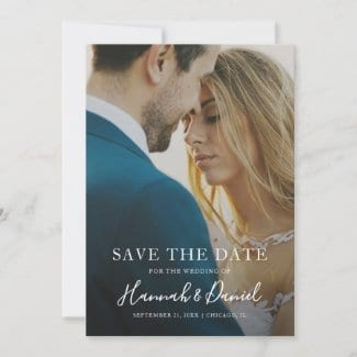 modern photo wedding save the date invite with whimsical white calligraphy script
