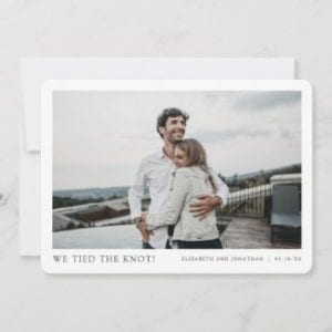 simple modern horizontal wedding elopement card template with we tied the knot text and borders