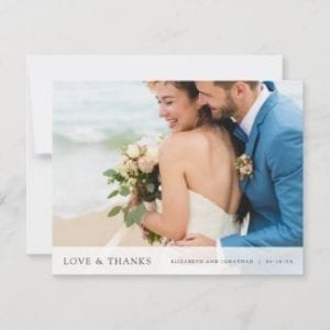 Custom photo wedding thank you card with love and thanks text.