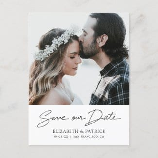 Photo save the date postcard template with 'save our date' in modern black script