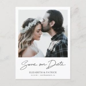 Simple modern wedding save the date postcard template with borders,photo and black 'Save our Date' script.