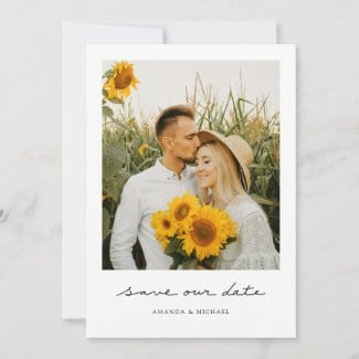 Simple save the date tempplate with save our date text in a handwriting script, photo and modern borders.
