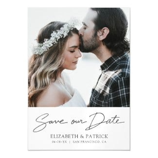 Save the date photo magnet template with modern black handwriting script.
