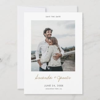 simple modern engagement save the date card template with photo and names in a casual gold script with borders.
