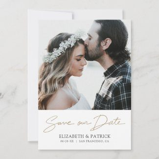 Customizable wedding save the date flat cards with modern gold handwriting script and photo.