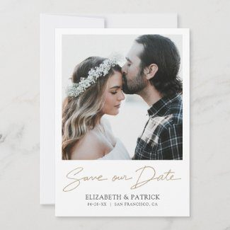 Simple modern photo save the date cards with gold script and photo.