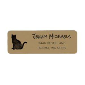 Black cat address label with gold base.