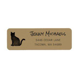 Black cat address label with gold base.