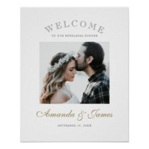 Modern wedding rehearsal dinner welcome sign poster with names in gold script.