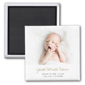 simple modern photo magnet birth annoouncements with gold script for baby boy or girl.
