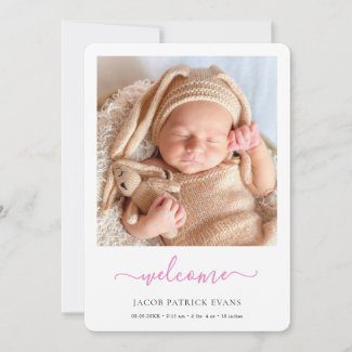 Simple modern baby girl announccement card with photo and pink script.