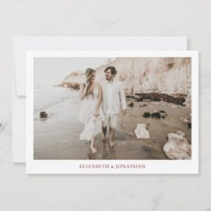 Simple modern save the dates with photo, borders and burgundy text.